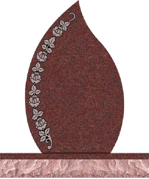 Companion Tear Drop Headstones - Covered with Rose