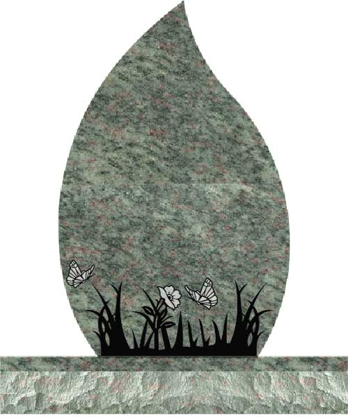 Companion Tear Drop Headstones - Grass and Butterflies