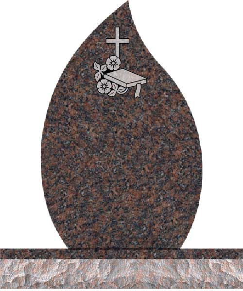 Companion Tear Drop Headstones - Cross with Bible and Dogwood