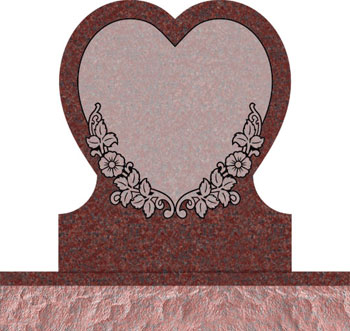 Single Heart Headstones - Covered with Dogwood Flowers