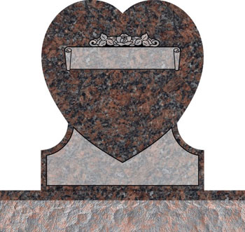 Single Heart Headstones - Rose and Leaves