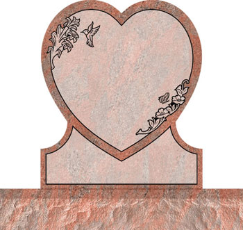 Single Heart Headstones - Hummingbird and Butterfly