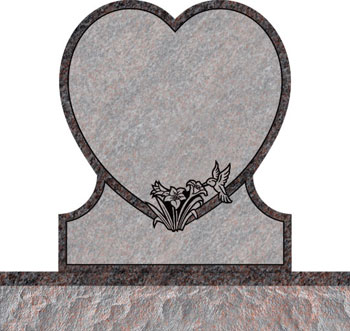 Single Heart Headstones - Hummingbird with Wild Lily