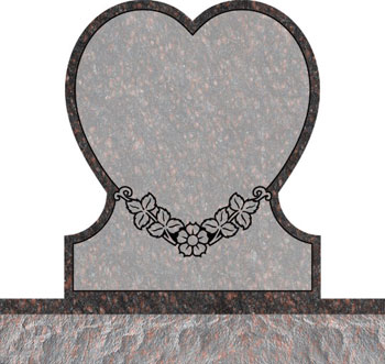 Single Heart Headstones - Single Dogwood with Leaves