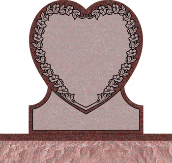 Single Heart Headstones - Covered with Wild Rose
