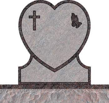 Single Heart Headstones - Cross with Praying Hand