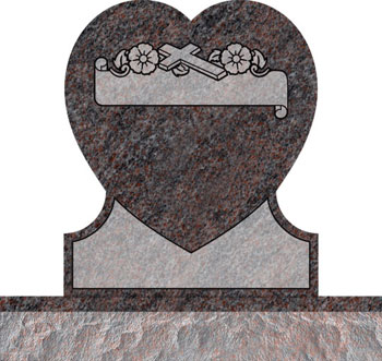 Single Heart Headstones - Cross with Panel and Dogwood