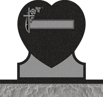 Single Heart Headstones - Cross with Dogwood and Panel