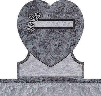 Single Heart Headstones - Dogwood with Covered Panel