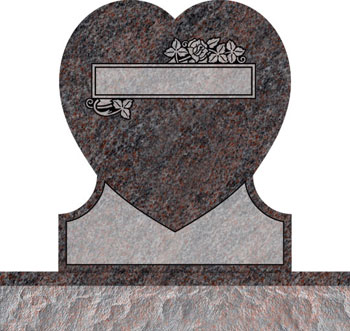 Single Heart Headstones - Rose with Double Panel