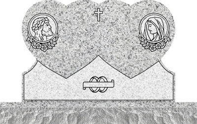 Double Heart Headstones - Jesus and Mary