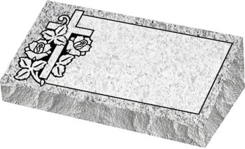 Individual Bevel Grave Marker | Single Bevel Marker - Cross with Rose