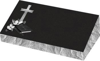 Individual Bevel Grave Marker | Single Bevel Marker - Cross with Bible and Dogwood flower