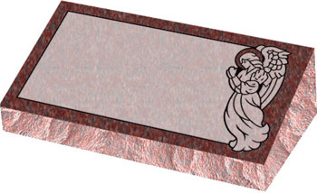 Individual Bevel Grave Marker | Single Bevel Marker - Angel with Covered Panel