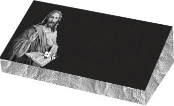 Individual Bevel Grave Marker | Single Bevel Marker - Jesus with Bible and Dogwood