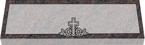 Companion Flat Grave Marker | Double Flat Marker - Cross and Dogwood