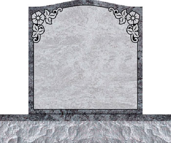 Individual Traditional Headstone - Dogwood Flowers in Top Panel