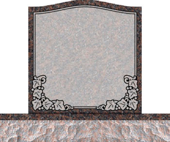 Individual Traditional Headstone - Ivy Leaves on Bottom Corners