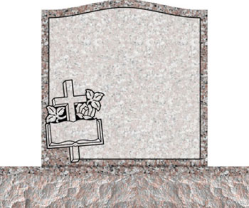 Individual Traditional Headstone - Cross Bible and Rose