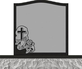 Individual Traditional Headstone - Cross Praying Hand and Rose