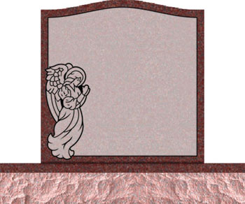 Individual Traditional Headstone - Angel with Covered Panel