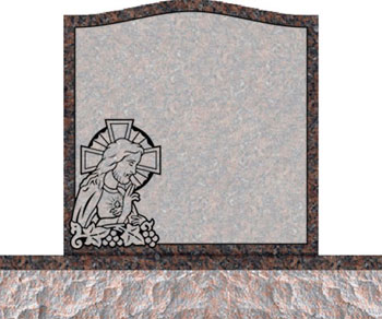 Individual Traditional Headstone - Jesus with Cross and Grapes