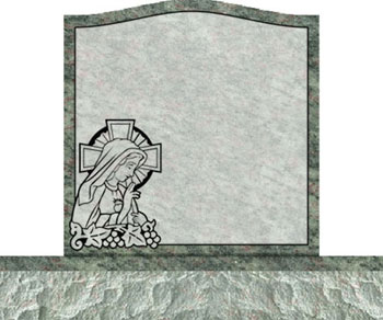 Individual Traditional Headstone - Mary with Cross and Grapes