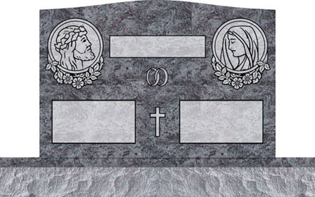 Companion Upright Headstones - Jesus and Mary with Dogwood Panel