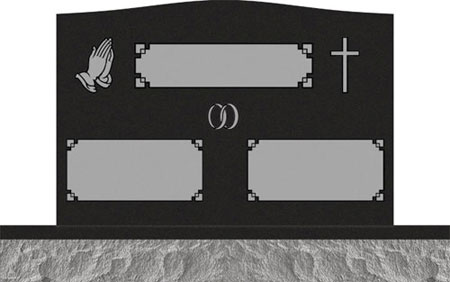 Companion Upright Headstones - Praying Hand and Cross with Fancy Panel