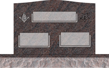 Companion Upright Headstones - Masonic Emblem and Eastern Star