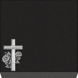 Small Flat Grave Marker - Cross with Rose