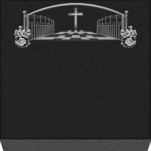 Small Flat Grave Marker - Cross and Heaven Gate
