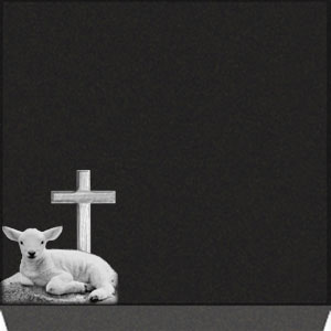 Small Flat Grave Marker - Cross with Lamb