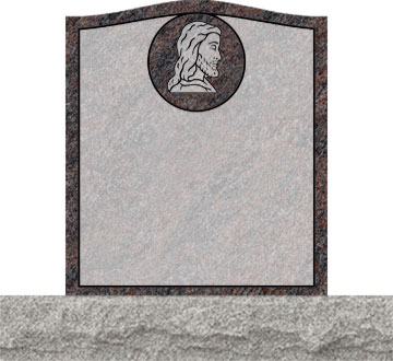 Small Upright Headstones - Jesus with Round Panel