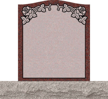 Small Upright Headstones - Roses in Top Panel