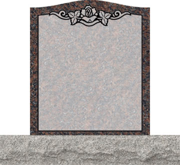 Small Upright Headstones - Single Rose in Top Panel