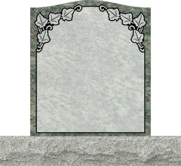 Small Upright Headstones - Ivy Leaves in Top Panel